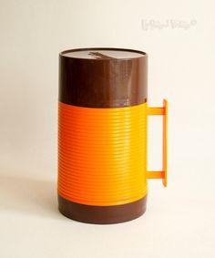 Vintage Retro 1960s/70s Orange & Brown ALADDIN Brand Soup Food Flask by UpStagedVintage on Etsy