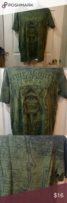 Mens extreme couture tee Like new.  Purchased at Buckle.  Olive green with black graphics.  Size L Extreme Couture Shirts Tees - Short Sleeve