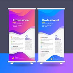 Roll up ad banner Premium Vector Standing Banner Design, Pop Up Banner, Vector Photo, Clipart, Vector Free, Rolls, Social Media, Ads, Business