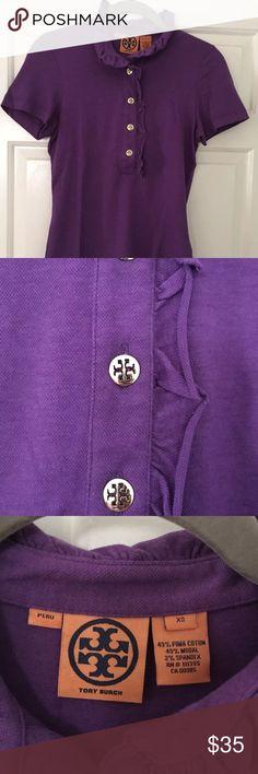 Tory Burch Purple Polo Gold Ruffle Top shirt Xs Women's Tory Burch Purple Gold Button Short Sleeve Polo Shirt Top Size XS Ruffle Tory Burch Tops Tees - Short Sleeve