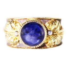 Buccellati Sapphire, Gold and Silver Ring | From a unique collection of vintage more rings at https://www.1stdibs.com/jewelry/rings/more-rings/