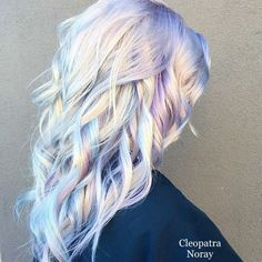 Light blonde hair with blue and purple