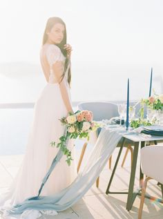 You'll Have a Blue Crush on This Santorini Bridal Inspiration Wedding Flower Decorations, Wedding Flowers, Wedding Dresses, Blue Crush, Floral Design, Tulle, Santorini Greece, Corfu, Couture