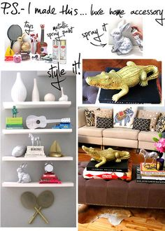 Spray painted items with metallic paint