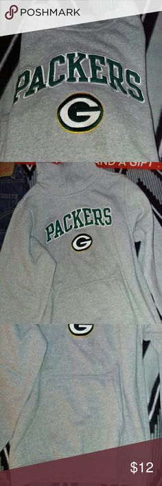 "Boys Greenbay Packer Hoodie med/10-12 Authentic NFL Team Apparel. Grey heavyweight hoodie with embroidered ""G"" Packers. Nice hoodie in great used condition. My son outgrew this and wore a handful of times. Many more boys clothes and accessories to come real soon. NFL Tops Sweatshirts & Hoodies"