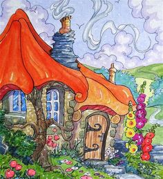 """Daily Paintworks - """"Hot Scones in the Oven Storybook Cottage Series"""" - Original Fine Art for Sale - © Alida Akers"""