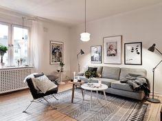 décoration murale avec peinture dans le salon, meuble scandinave pas cher, canapé pour 3 personnes