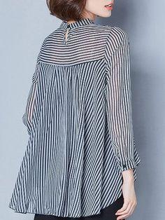 Casual Stripe Irregular Lapel Long Sleeve Blouses For Women - Mode für Frauen Hijab Fashion, Fashion Dresses, Fashion Tips, Fashion Websites, Latest Fashion, Pakistani Fashion Casual, Fashion Hacks, Fashion 2018, Cheap Fashion