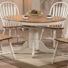 oak pedestal table painted white | ... Pedestal Table - Antique White Rustic Oak | Modern Furniture Warehouse