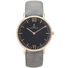 "Kapten & Son | Uhr ""Black Grey Vintage Leather"" - Roségold & Leder in Grau - 36 & 40 mm"