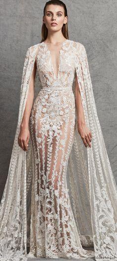 zuhair murad 2018 bridal trends sleeveless deep v neck lace wedding dress (1) mv cape dramatic elegant -- 2018 Wedding Dress Trends to Love Part 2