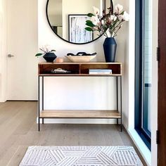 Small Console Tables, Console Table Styling, Entryway Console Table, Black Entryway Table, Small Entry Tables, Entry Table Mirror, Entryway With Mirror, Console Table With Mirror, Entryway Table With Storage