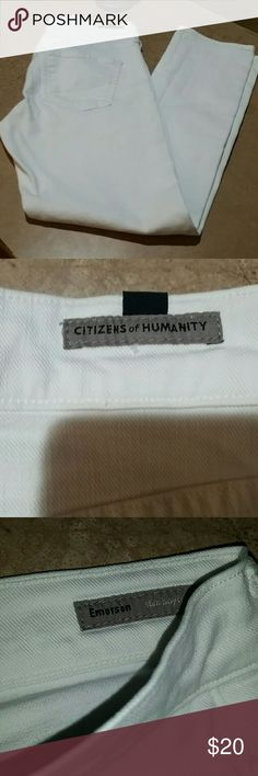 Citizens of humanity white Emerson slim boyfriend Size 24 but I usually wear a 26 fits me fine good condition priced to move Citizens of Humanity Jeans Boyfriend