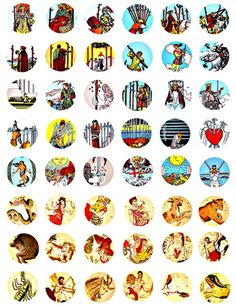 vintage swords tarot cards zodiac astrology signs digital download collage sheet 1 INCH circles>