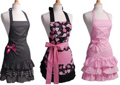 Flirty Aprons are perfect for helping your favorite cook bring out her inner Top Chef while keeping her clothes clean, and maintaining a sassy style in the kitchen. Whether a fan of vintage, classic, sexy or sweet apron designs, these aprons add spice to everyday life.