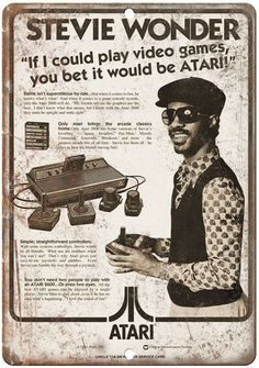 "ATARI Stevie Wonder If I Could See RARE Ad 10"" x 7"" Reproduction Metal Sign"
