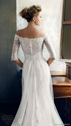 lusan mandongus 2017 bridal half sleeves off the shoulder illusion straight across sweetheart neckline heavily embellished bodice romantic covered lace back chapel train (zeta) zbv -- Lusan Mandongus 2017 Bridal Collection