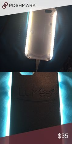 Lumee light up cell case iphone6 iPhone 6 the LED lighting on both sides gives you a soft and beautiful light.  Dimmmer Button to control the intensity of the lighting output.  Rechargeable case battery and included micro USB charging cord. Long lasting battery.  Tough, impact resistant plastic. Your phone is snug and safe with the LuMee case.  Perfect lighting is just a click away with an easy on/off switch.  Use for selfies, face timing, Skype, make-up light, social media like  Snapchat…