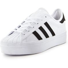 Adidas Originals Superstar Rize Sneakers ($86) ❤ liked on Polyvore featuring shoes, sneakers, white tennis shoes, retro shoes, adidas originals trainers, platform trainers and tennis shoes