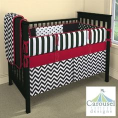 Ideas for Baby Hayden's room, love the black, white, and red!