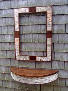 Birch Bark and Black Walnut Table Shelf and Mirror Frame