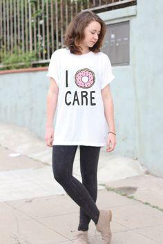 I Doughnut Care - I Donut Care - Funny Donut Shirt - Tumblr Shirt - Funny T Shirt - Pizza Shirt - Fashion Tops - Street Style - Pinterest