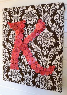 Nursery Button Letter Wall Art, Personalized Baby Girl Nursery Letters on Canvas, Hot Pink and Chocolate Brown, Shower Gift Canvas Letters, Letter Wall Art, Nursery Letters, Button Canvas, Button Art, Dyi Wall Decor, Personalised Canvas, Personalized Baby, Friend Crafts