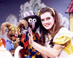 """ Brooke Shields as Alice in Wonderland on The Muppet Show, "" Brooke Shields Friends, Brooke Shields Young, Literary Characters, The Muppet Show, Miss Piggy, Red Books, Most Beautiful People, Princess Luna, Jim Henson"