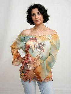 Hand painted silk shirt. Alphonse Mucha motive shirt. Made to order. .Free shipping. on Etsy, $215.00