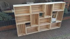 Pallet crates turned into bookshelf