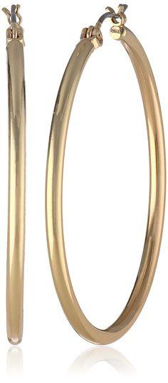 Nine West Classics Gold Tone Mid-Sized Hoop Earrings
