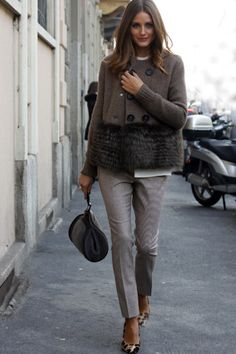 the—one:  olivia Palermo grey pants with leopard shoes - fabulous