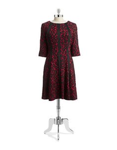 Plus Jacquard Fit-and-Flare Dress   Hudson's Bay