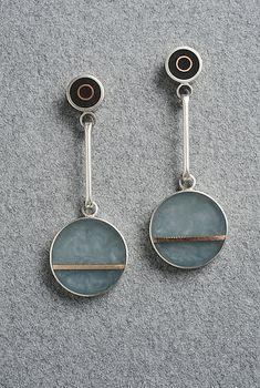 Two Dot Earring: Eileen Sutton: Mixed-Media Earrings-silver,copper,cast resin