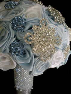 Winter Ice Blue Snowflake Bouquet Wedding Flowers Photos on WeddingWire