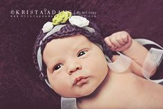 Newborn Photography Prop - Crochet Scalloped Beanie in Plum with Apple Green and White Flower and Satin Ribbons - Photo Prop. $21.50, via Etsy.