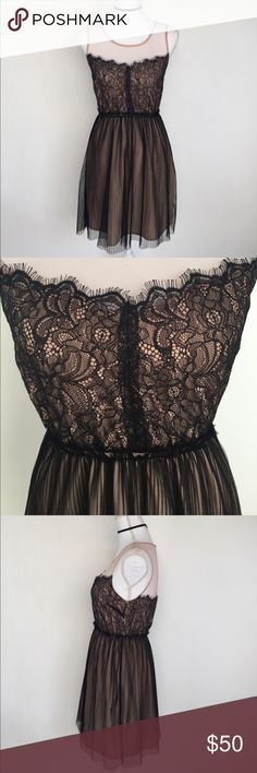 Pink & Black Lace & Tule Dress, S This gorgeous Pink & Black Lace & Tule Dress, S is perfect for a romantic night on the town with your love❤️ EXCELLENT CONDITION, a tiny, hardly noticeable pull in the back (see photo) comes from a smoke free home. Dresses