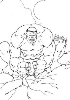 Hulk Hitting The Ground Coloring Pages For Kids Printable