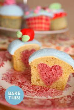 Baking different shapes inside your cupcakes: loads of other ideas, too! http://www.curbly.com/m/11222-how-to-bake-a-heart-or-any-shape-into-a-cupcake