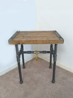 Industrial Side Table End Table Pipe Table by TheCleverRaven