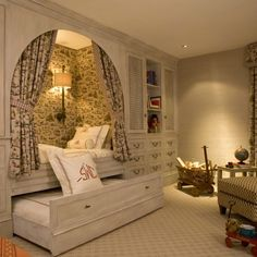 Bed nook for the girls room. Bed nook would also work for guest room too. Alcove Bed, Bed Nook, Cozy Nook, Home Bedroom, Kids Bedroom, Bedroom Decor, Kids Rooms, Extra Bedroom, Bedroom Ideas