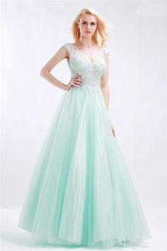 Princess A Line Open Back Cap Sleeve Mint Green Tulle Beaded Prom Dress d085245ab875