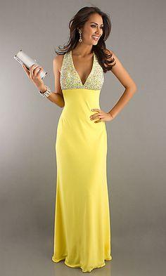 Yellow prom dress.