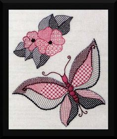 "May the wings of the butterfly kiss the sun and find your shoulder to light on, to bring you luck, happiness, and riches - today, tomorrow, and beyond."" The sweet and delicate Butterly Kiss blackwork pattern in stitched in shades of pink, grey, and black is based off of an Irish blessing full of heart-warming well-wishes."