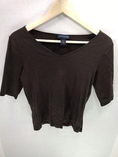70eeb037a8d03 Womens Ann Taylor Loft Brown V-neck 3 4 Sleeve Knit Top Blouse Size