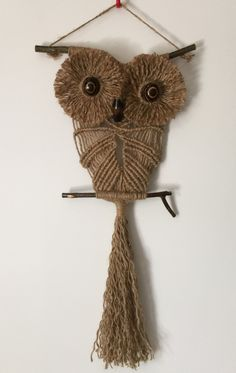 OWL #127 Macrame Wall Hanging, natural jute, macrame owl