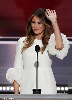 Melania hand-picked the dress cotton silk off-white Roksanda 'Margot' dress because she 'l...
