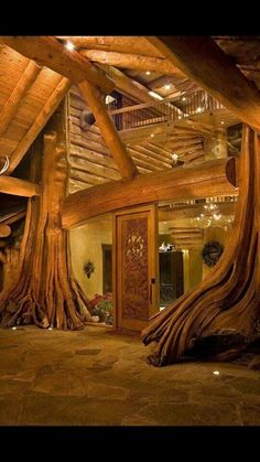 Love this!Wood tree house home - twisted winding branches - Interior Home Design  Decorating www.biginternetsecret.net