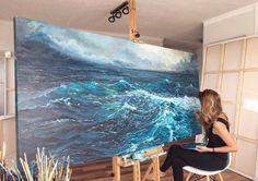Abstract Paintings, Abstract Art, Art Paintings, Watercolor Painting, Painting Of Water, Abstract Ocean Painting, Ocean Artwork, Pour Painting, Watercolor Landscape
