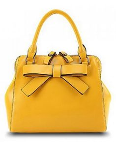 Bright Yellow Bowknot Design Solid Color Women's Tote Bag